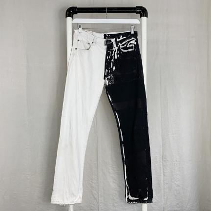 screen-printed denim pants
