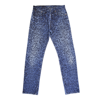 screen printed denim pants