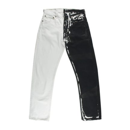 bicolor denim pants