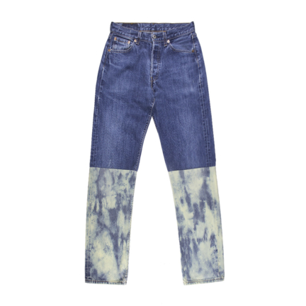 plein & tie dye denim pants