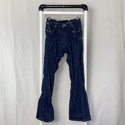 shirred denim pants